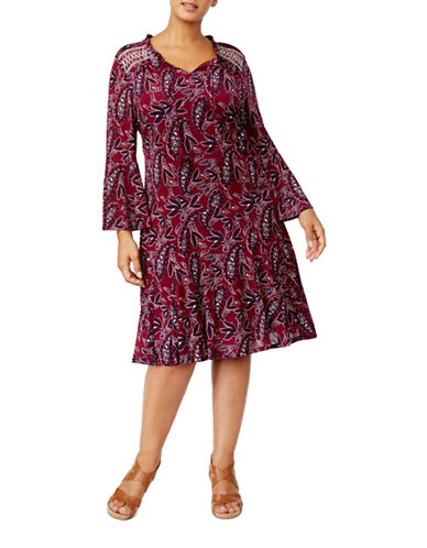 Style And Co. Plus Peasant Fit-&-Flare Dress-PURPLE MULTI-2X