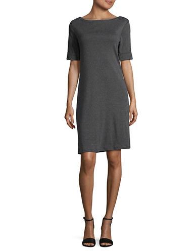 Karen Scott Elbow-Length Sleeve Cotton T-Shirt Dress-GREY-Medium