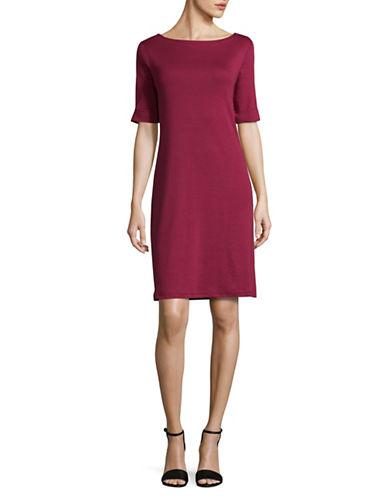Karen Scott Elbow-Length Sleeve Cotton T-Shirt Dress-RED-Small