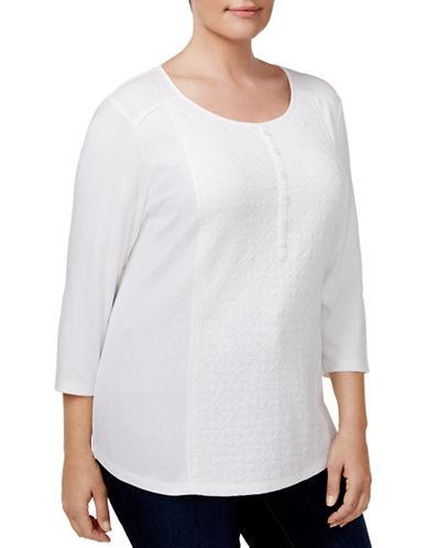Karen Scott Plus Cotton Henley Top-WHITE-1X