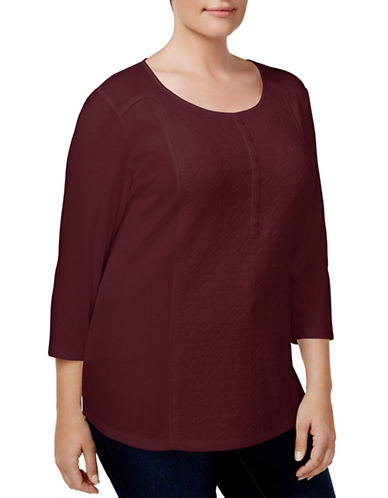 Karen Scott Plus Cotton Henley Top-RED-1X