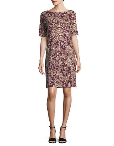 Karen Scott Elbow Length Sleeve Ink Floral T-Shirt Dress-PURPLE MULTI-Medium