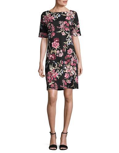 Karen Scott Elbow-Length Sleeve Botanical T-Shirt Dress-BLACK MULTI-Small