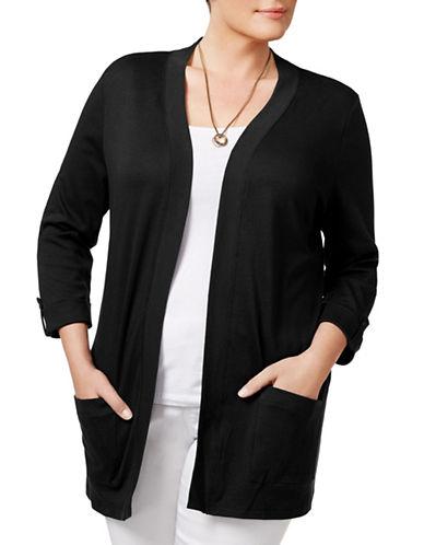 Karen Scott Plus Cotton Open Front Cardigan-BLACK-3X