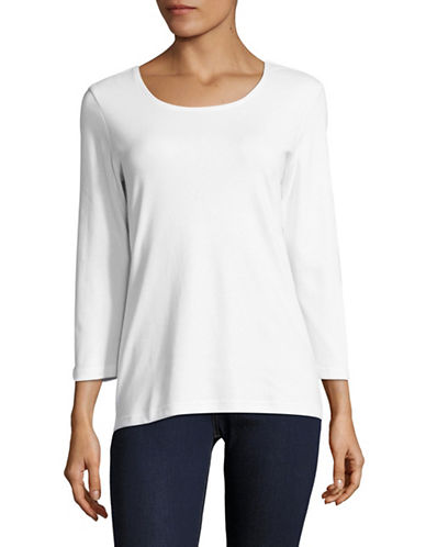 Karen Scott Round Neck Top-WHITE-X-Large