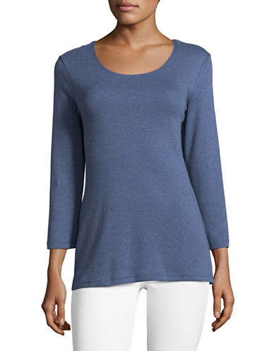Karen Scott Round Neck Top-HEATHER INDIGO-Medium