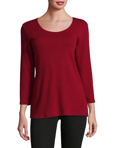 Karen Scott Round Neck Top-RED-X-Large