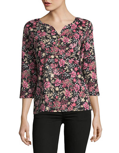 Karen Scott Three-Quarter Sleeve Reverie Floral Top-PINK MULTI-XX-Large