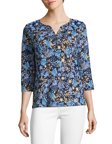 Karen Scott Three-Quarter Sleeve Reverie Floral Top-BLUE MULTI-Large