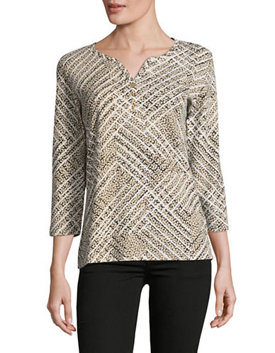 Karen Scott Three-Quarter Harlow Skies Patterned Top-BROWN-X-Large