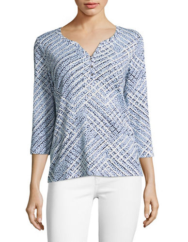 Karen Scott Three-Quarter Harlow Skies Patterned Top-BLUE-XX-Large