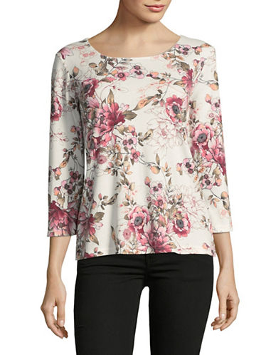 Karen Scott Paloma Printed Shirt-WHITE MULTI-X-Large