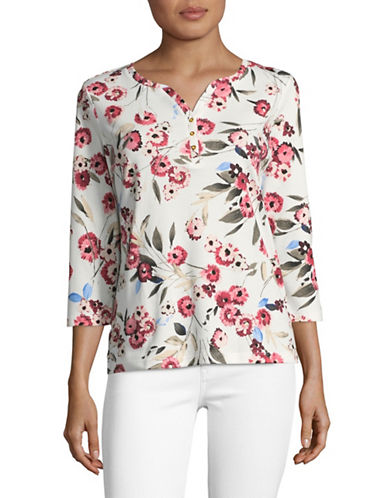 Karen Scott Petite Three-Quarter Sleeve Ephoria Float Floral Top-WHITE MULTI-Petite Small