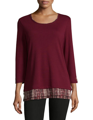 Karen Scott Three-Quarter Sleeve Twofer Top-RED-X-Large