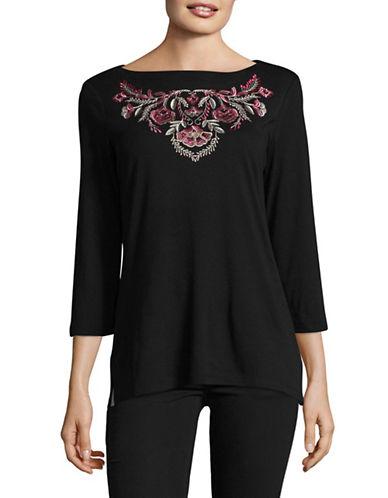 Karen Scott Embroidered Top-BLACK-Medium