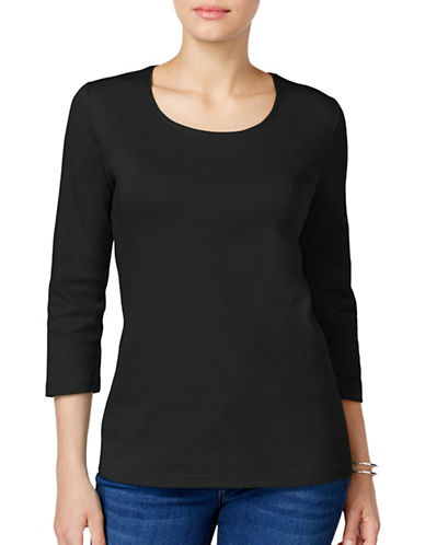 Karen Scott Petite Petite Cotton Scoop Neck Top-BLACK-Petite Medium