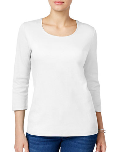Karen Scott Petite Petite Cotton Scoop Neck Top-WHITE-Petite X-Large