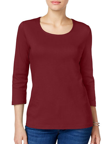Karen Scott Petite Petite Cotton Scoop Neck Top-RED-Petite X-Large