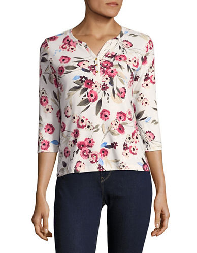 Karen Scott Three-Quarter Sleeve Ephoria Float Floral Top-WHITE MULTI-XX-Large
