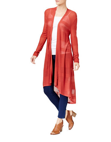 Style And Co. Hi-lo Duster Cardigan-RED-Medium