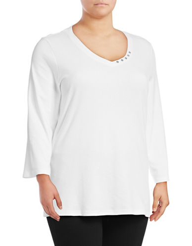 Karen Scott Plus Cotton Button Trim Top-WHITE-2X