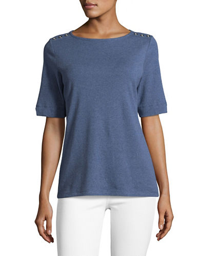 Karen Scott Button-Trim Cotton Top-BLUE-Medium