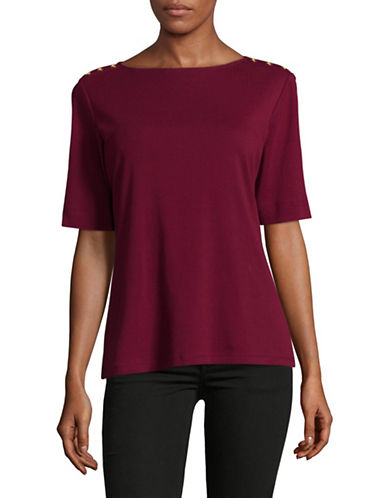 Karen Scott Button-Trim Cotton Top-RED-Medium