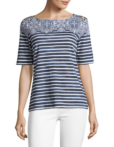 Karen Scott Mixed Print T-Shirt-BLUE-Small