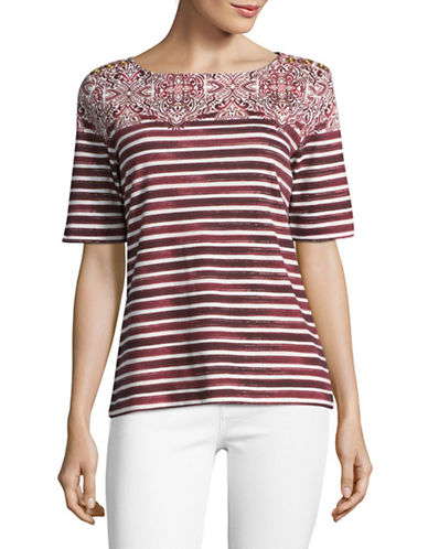 Karen Scott Mixed Print T-Shirt-RED-Large