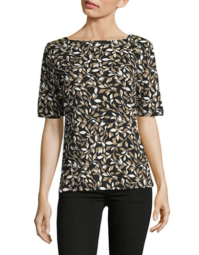 Karen Scott Leaf-Printed Top-BLACK-Medium
