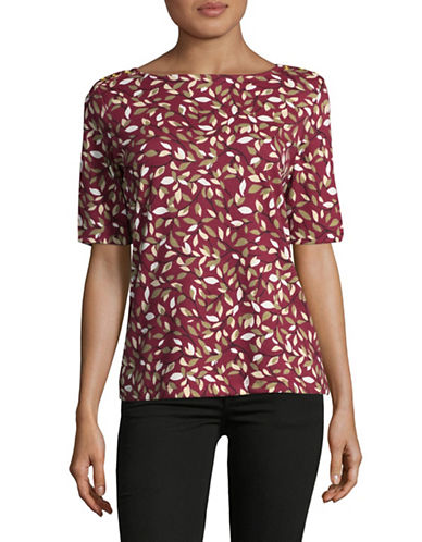 Karen Scott Leaf-Printed Top-RED-Medium