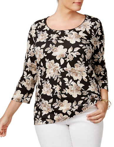 Karen Scott Plus Floral-Print Scoop-Neck Top-BLACK MULTI-3X