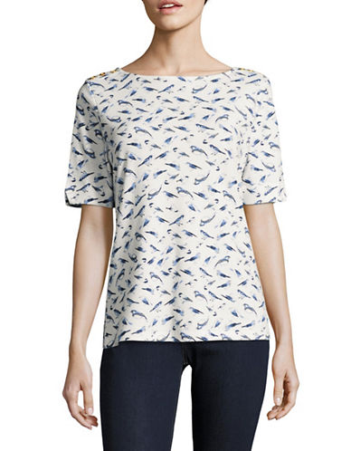 Karen Scott Bird-Printed Top-WHITE-Small