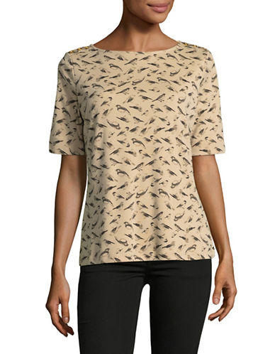Karen Scott Bird-Printed Top-BROWN-X-Large