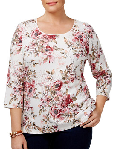 Karen Scott Plus Scoop Neck Floral Top-WHITE-1X