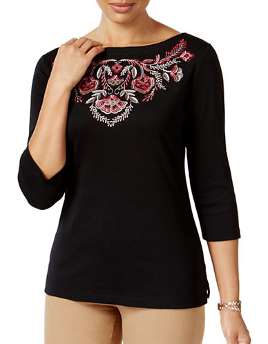 Karen Scott Petite Embroidered Boat-Neck Top-BLACK-Petite Medium