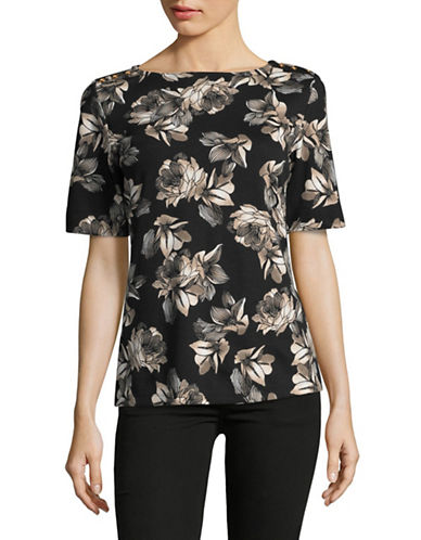 Karen Scott Elbow Length Sleeve Poppy Prance Top-BLACK MULTI-Large