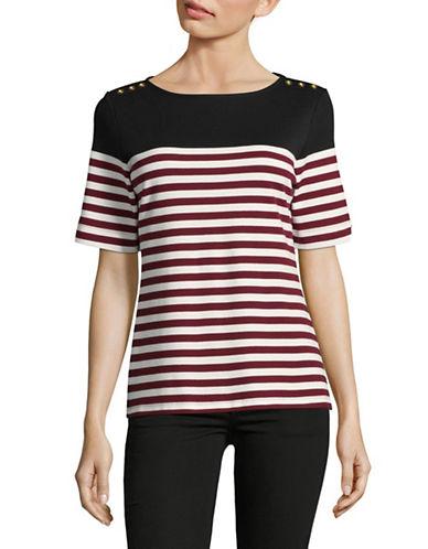 Karen Scott Lisa Striped Top-RED MULTI-Large