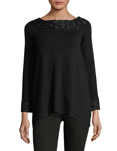 Style And Co. Petite Lace Boat Neck Tunic-BLACK-Petite Small