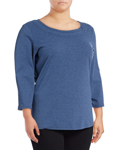 Karen Scott Plus Ring-Trim Scoop Neck Knit Top-BLUE-2X
