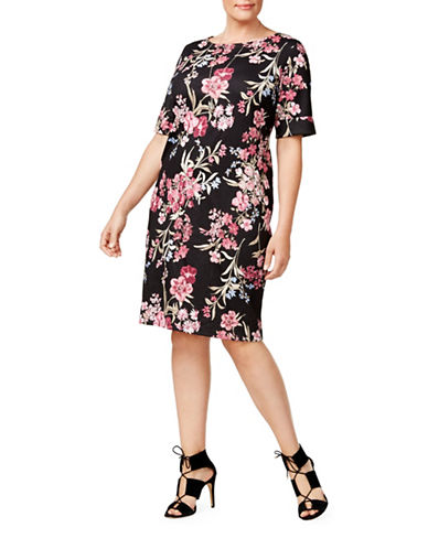 Karen Scott Plus Floral Print Shift Dress-BLACK MULTI-3X