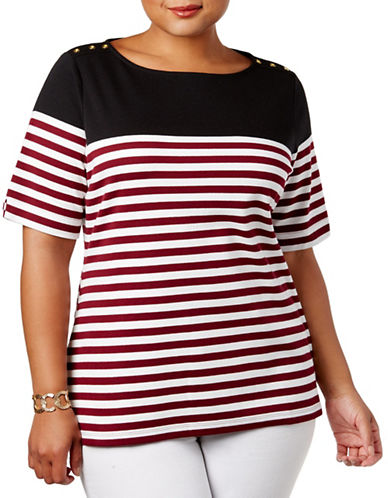 Karen Scott Plus Striped Button-Shoulder Top-RED MULTI-1X
