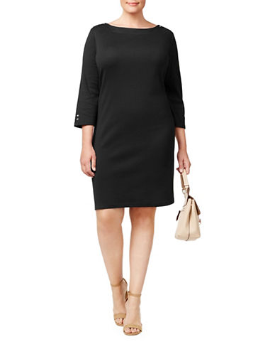 Karen Scott Plus Button-Trim Cotton Shift Dress-BLACK-1X