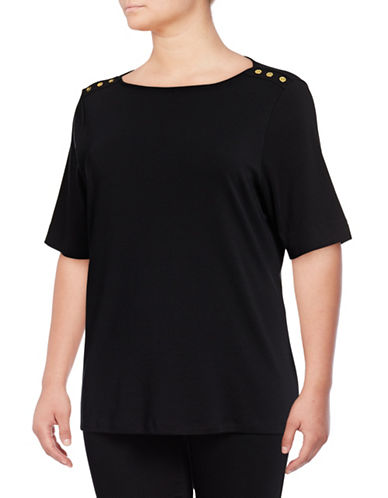 Karen Scott Plus Button-Trim Cotton Top-BLACK-2X