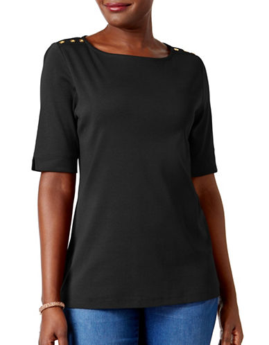 Karen Scott Petite Cotton Button-Trimmed Boat-Neck Top-BLACK-Petite X-Small