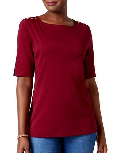 Karen Scott Petite Cotton Button-Trimmed Boat-Neck Top-RED-Petite X-Small