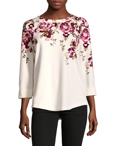 Karen Scott Cottage Floral T-Shirt-WHITE MULTI-Large