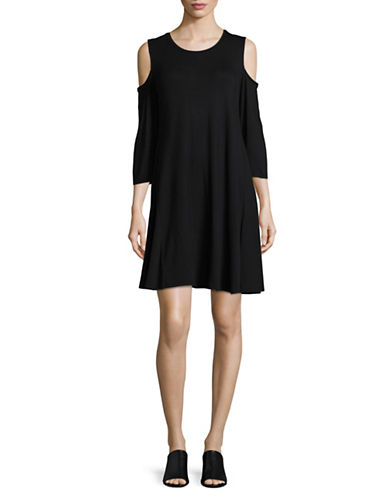 Style And Co. Crew Neck Cold Shoulder Dress-BLACK-XX-Large
