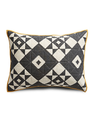 Martha Stewart Blair Diamond Cotton Standard Sham-BLACK-Standard