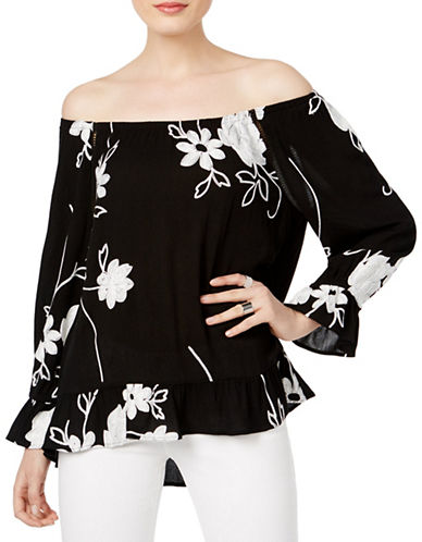 I.N.C International Concepts Embroidered Off-The-Shoulder Top-BLACK MULTI-X-Large